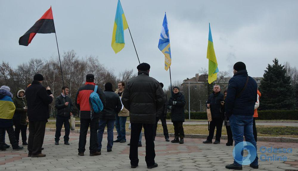 Одесский минимитинг за Саакашвили: десять полицейских на двадцать человек (фото)