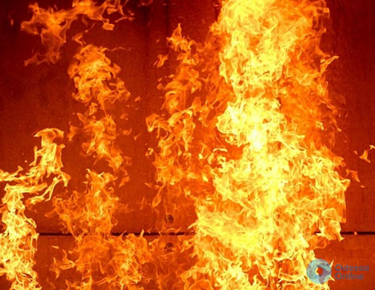 Сильный пожар в Черноморске (видео)