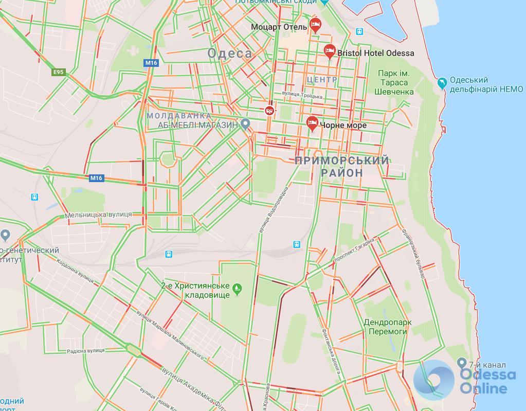 Одесса: пробки у Привоза, Пересыпского моста и на проспекте Шевченко