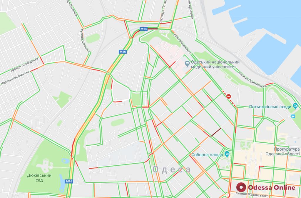 Одесса: пробки на Водопроводной и проспекте Гагарина