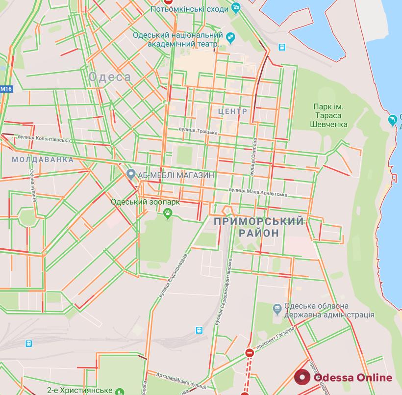 Одесса: пробки у Пересыпского моста, на улицах Польской и Краснова
