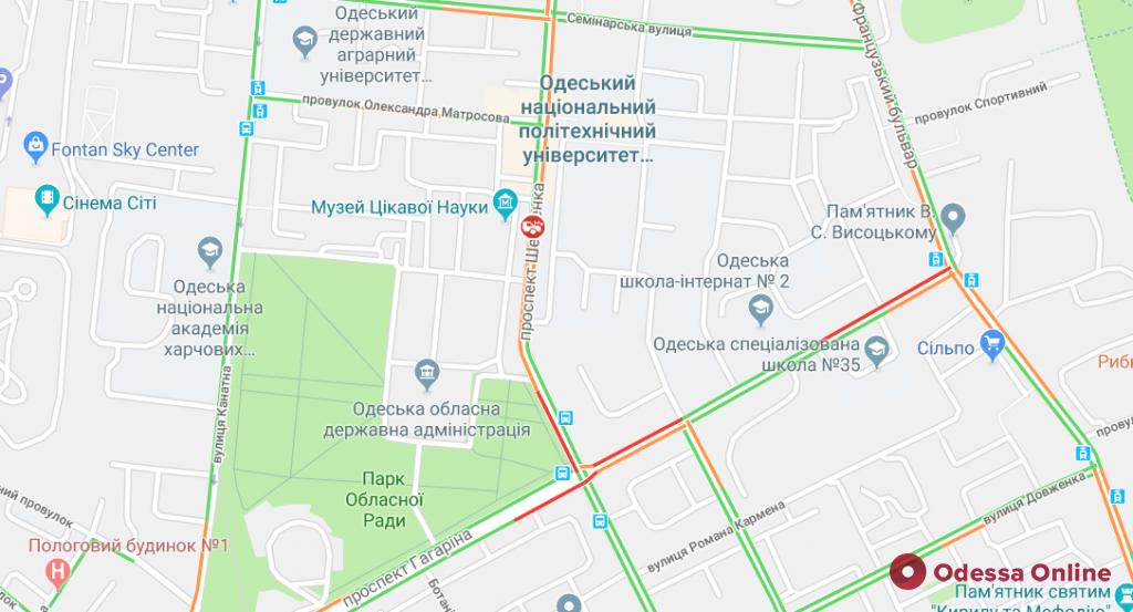 Дорожная обстановка в Одессе: два ДТП и много пробок