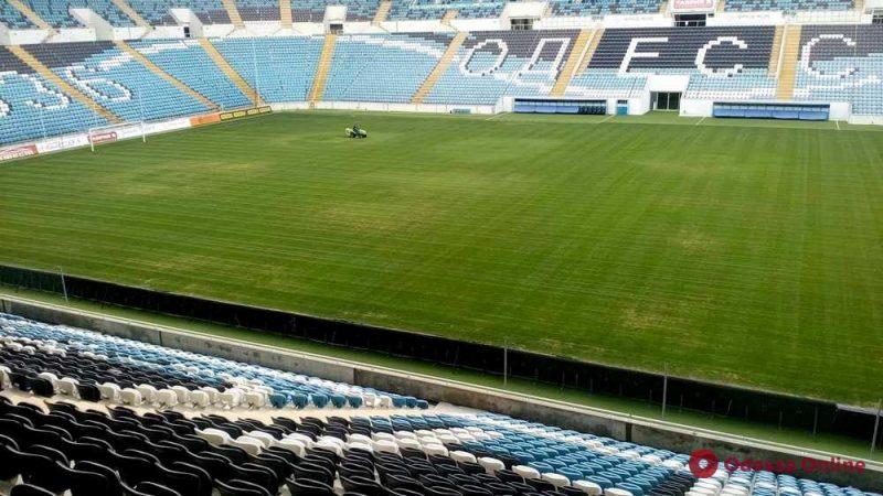 Газон одесского стадиона «Черноморец» заметно позеленел (фотофакт)