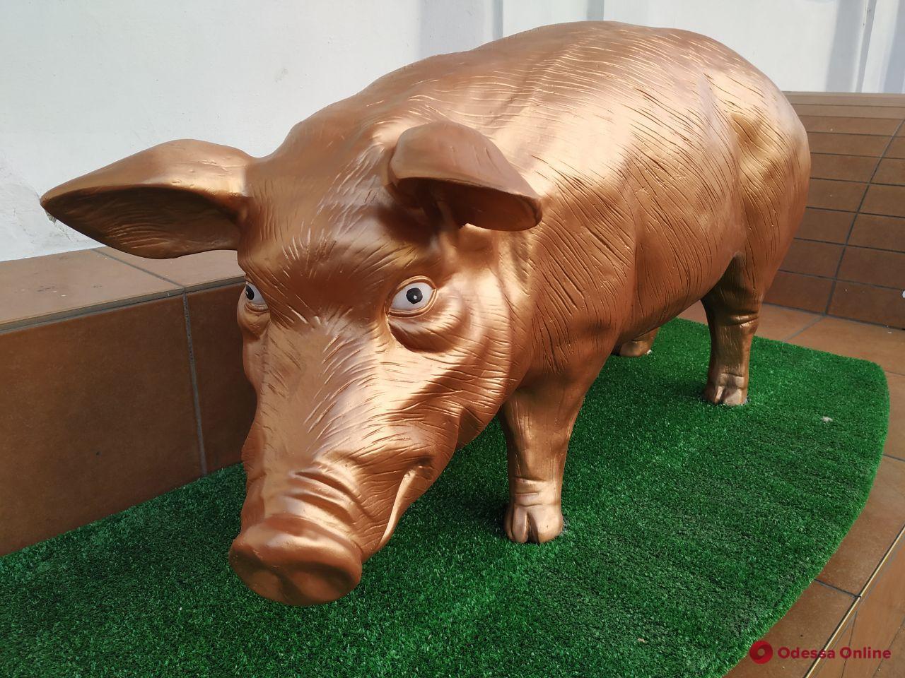 Не котами едиными: в Одессе появилась скульптура свиньи (фотофакт)