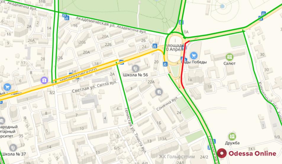 Дорожная обстановка в Одессе: пробки в центре, на Таирова и в Аркадии
