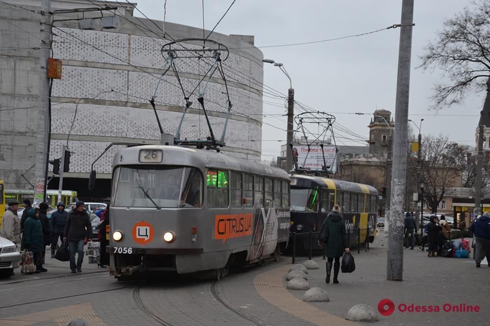 В Одессе на маршрут вышли спаренные трамваи