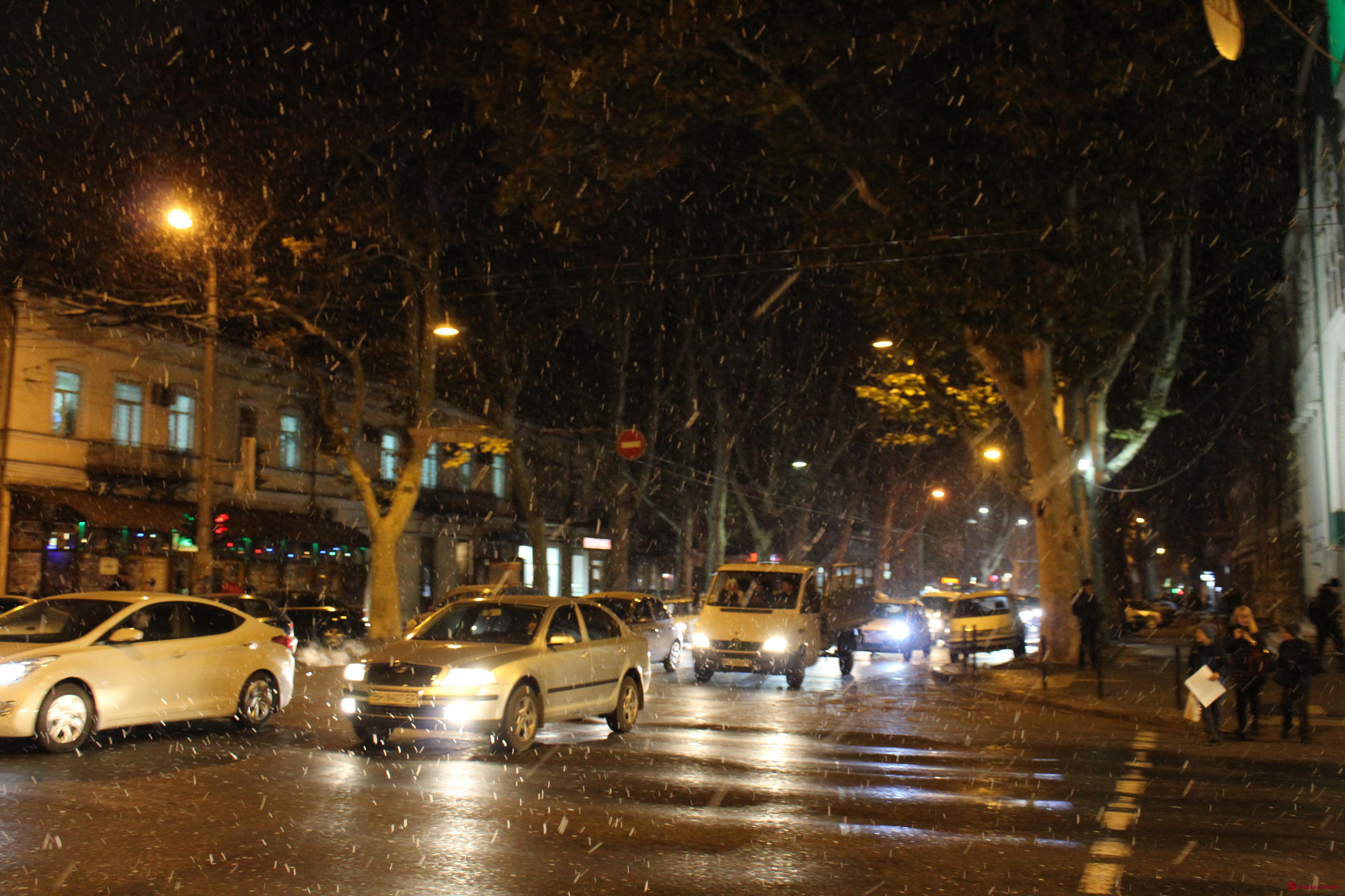 В Одессе идет первый снег (фото, видео)