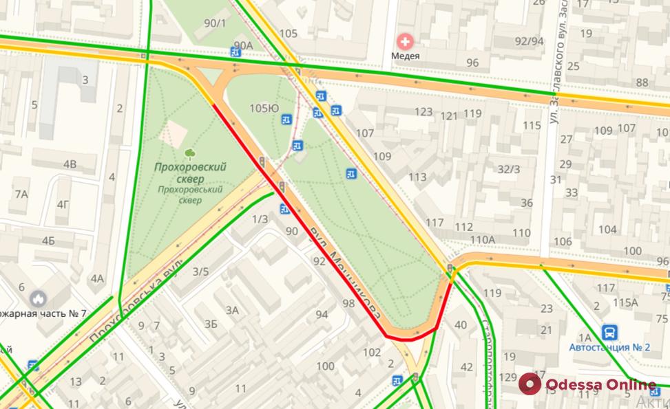 Дорожная обстановка в Одессе: пробки на Балковской и в центре