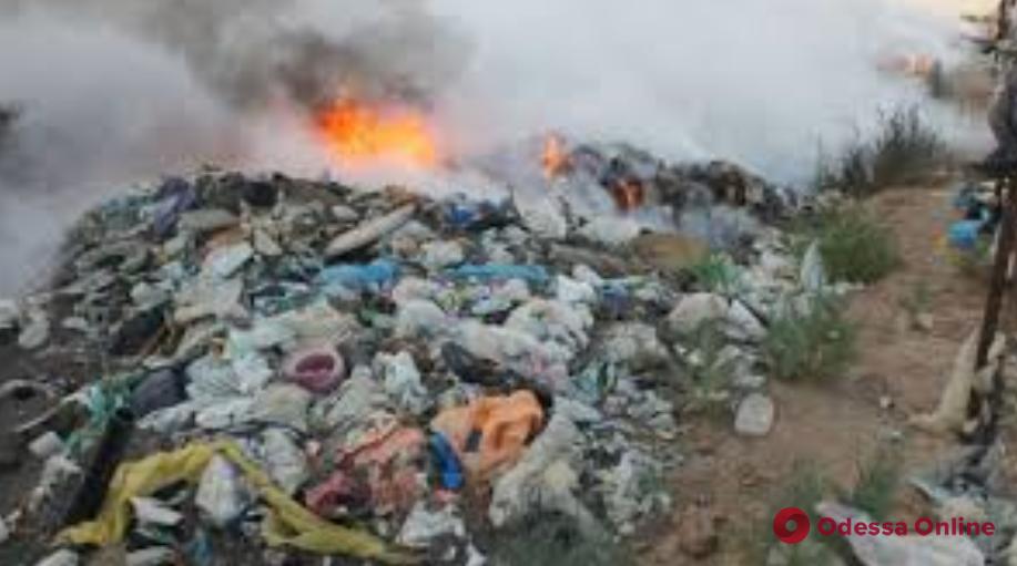 В Одесской области произошел большой пожар на мусорной свалке