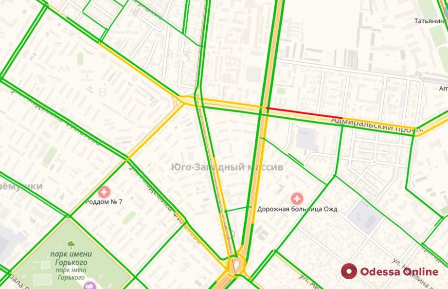 Дорожная обстановка в Одессе: пробки на Балковской, Адмиральском проспекте и в центре