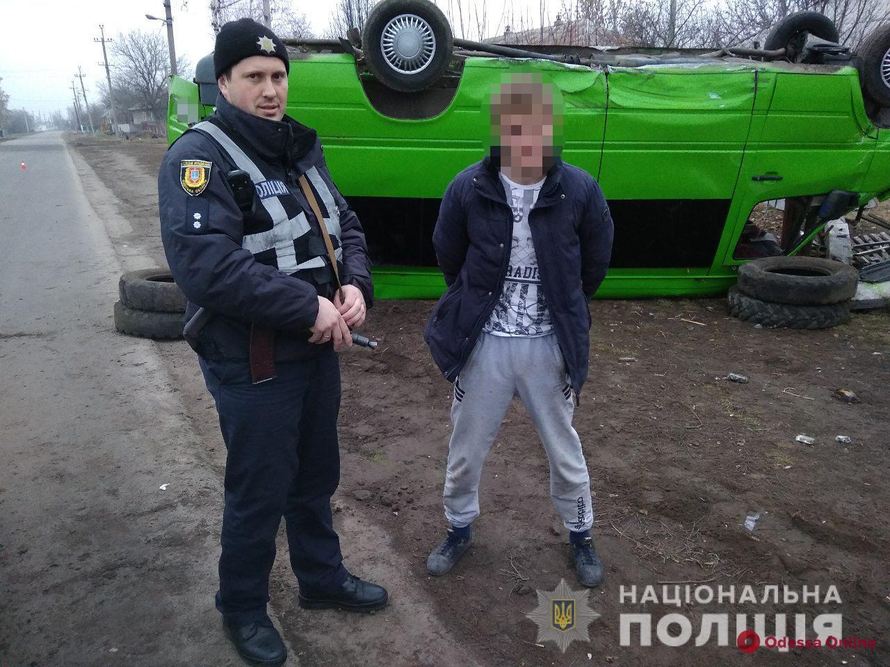 В Одесской области пьяный неадекват угнал маршрутку и попал в ДТП