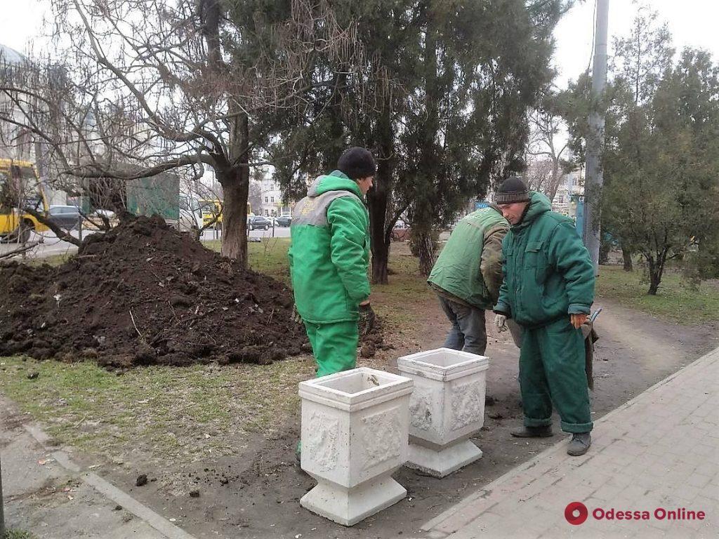 Зеленую зону на Привокзальной площади оградили цветочными вазонами