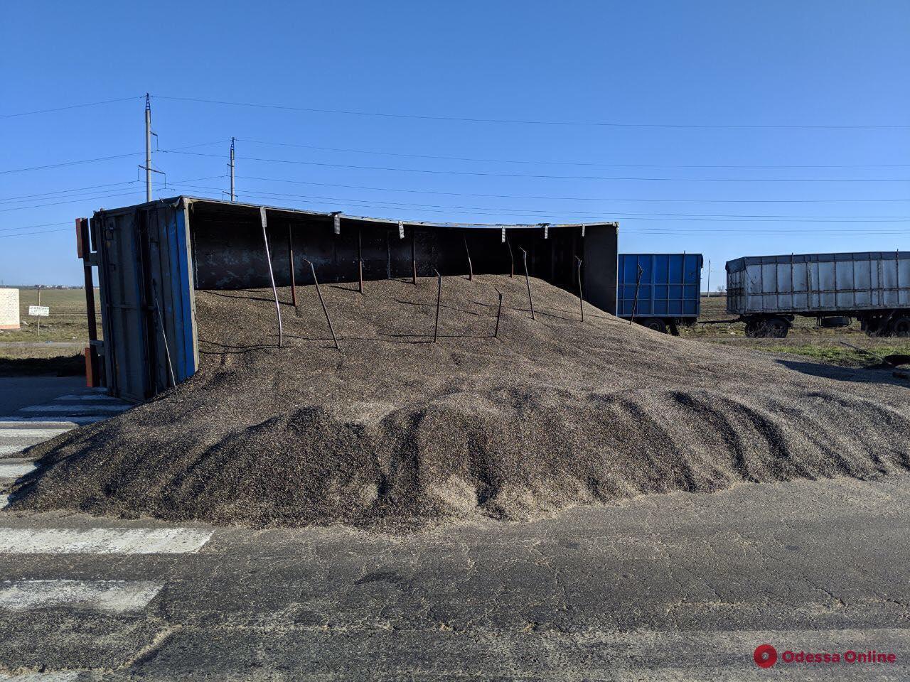 На трассе под Одессой перевернулась фура с семенами подсолнуха
