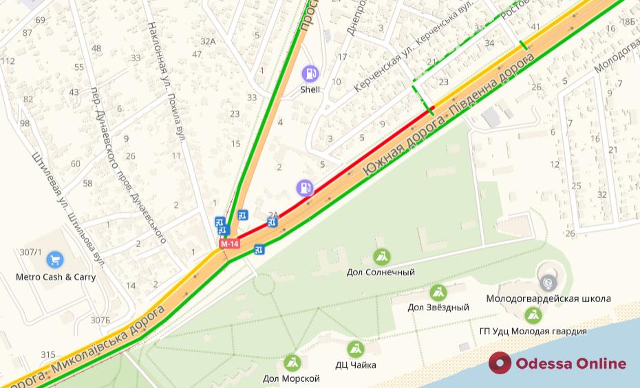 Дорожная обстановка в Одессе: пробки на Таирова и тянучки в центре