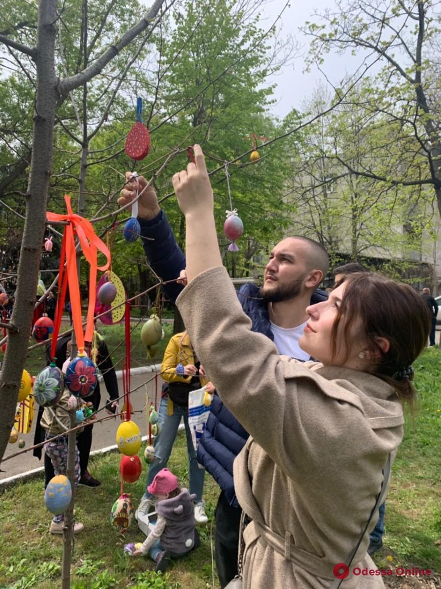 Одесса: во дворе военного госпиталя украшали пасхальное дерево