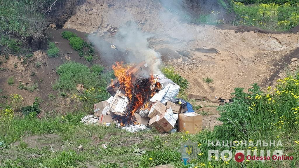 В Одесской области сожгли гору наркотиков