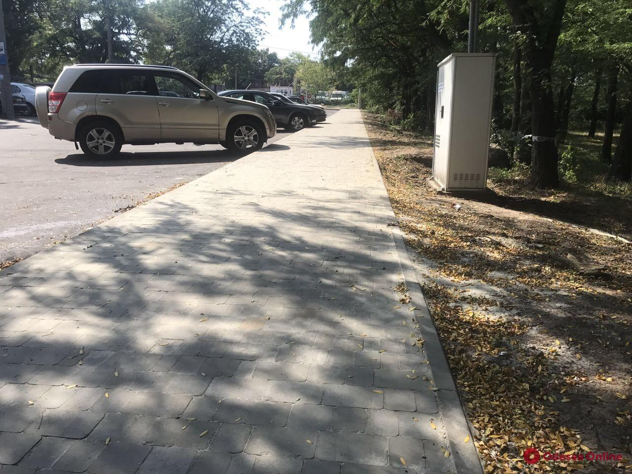 Возле Дюковского парка ремонтируют тротуар