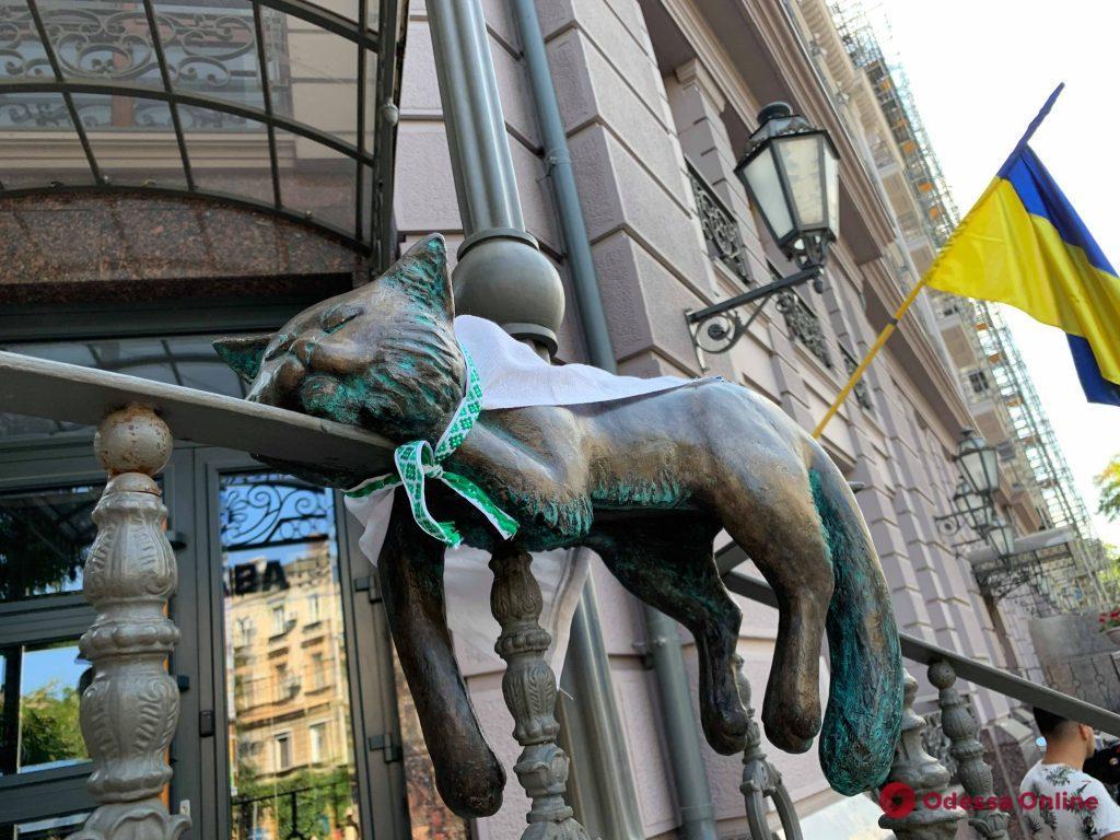 Скульптуры одесских котиков «принарядились» к главному украинскому празднику (фото)