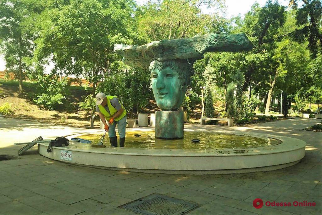 Одесские фонтаны очищают от мусора и веток