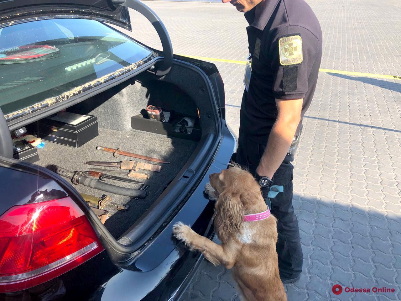 Одесские пограничники нашли георгиевскую ленту и ножи в прибывшем из США авто