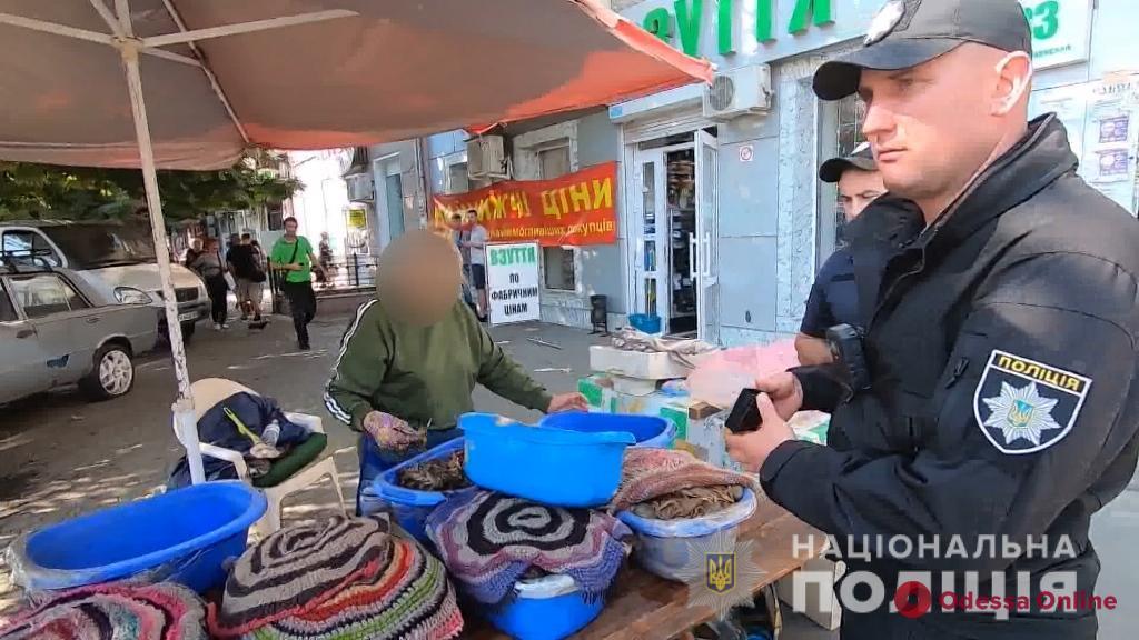 Полицейские во время рейда изъяли на Привозе 150 килограммов мидий