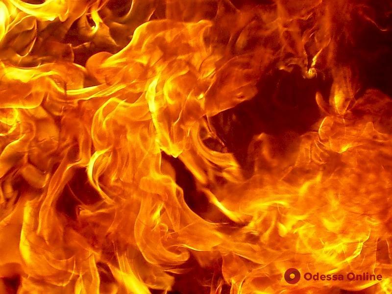 В центре Одессы сгорел автомобиль (видео)