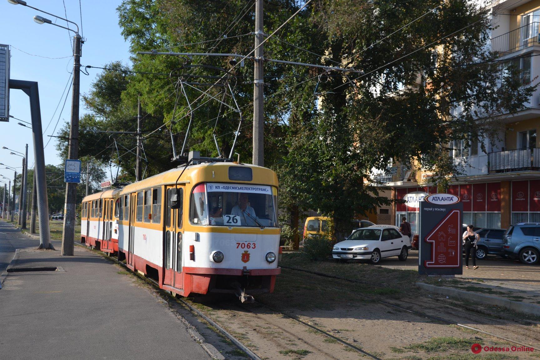 В Одессе на маршруты вышли спаренные трамваи