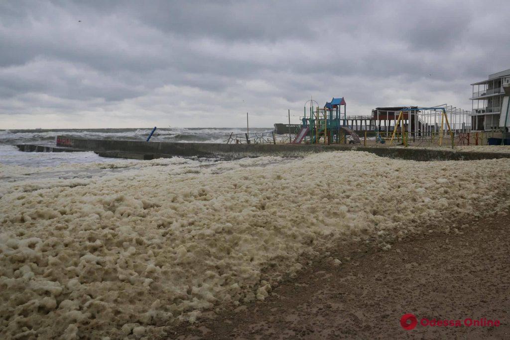 Одесское побережье накрыла морская пена (фото, видео)
