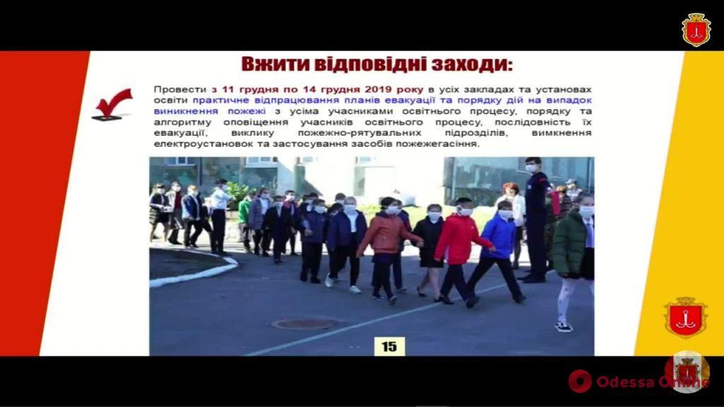 С 11-го по 14 декабря в школах Одессыпройдут учения по противопожарной безопасности
