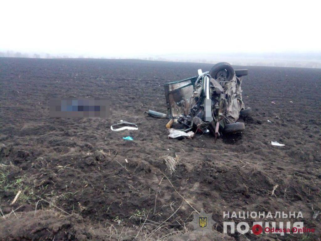 В Одесской области Mercedes вылетел на обочину и перевернулся