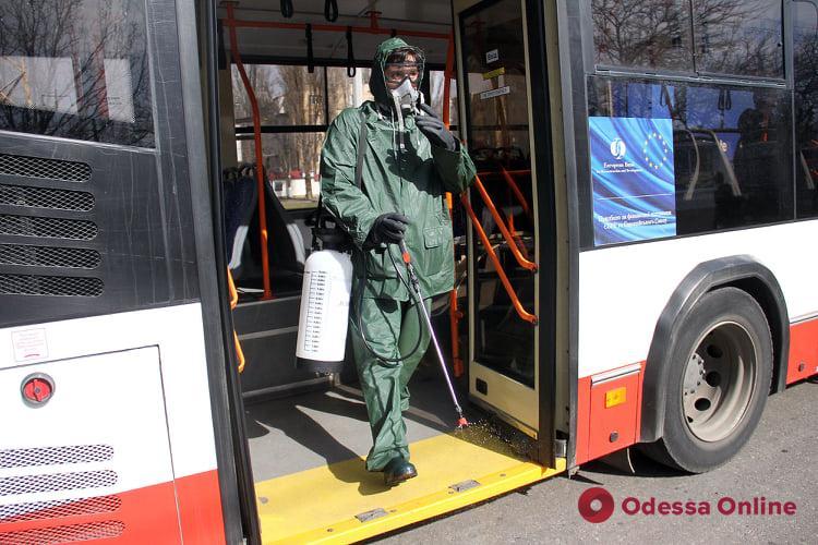 В Одессе дезинфицируют троллейбусы и трамваи (фото)