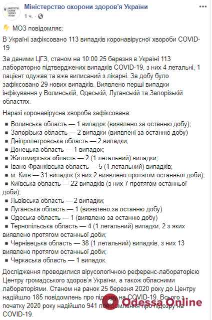В Одесской области зафиксировали первый случай заражения коронавирусом (обновлено)