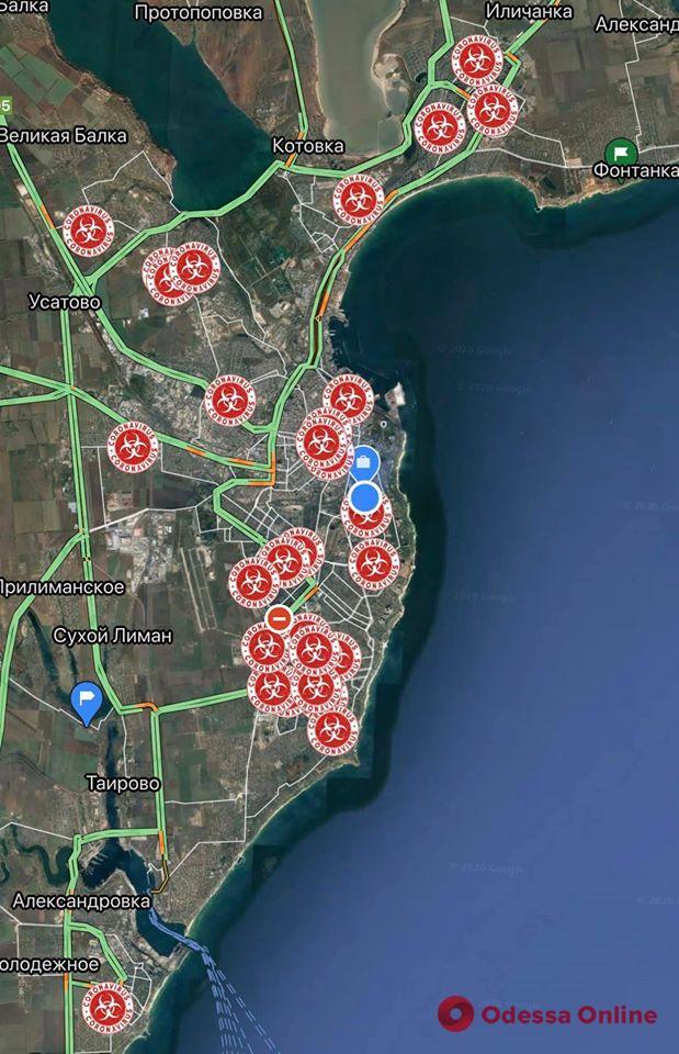 Появилась интерактивная карта распространения Covid-19 в Одесской области