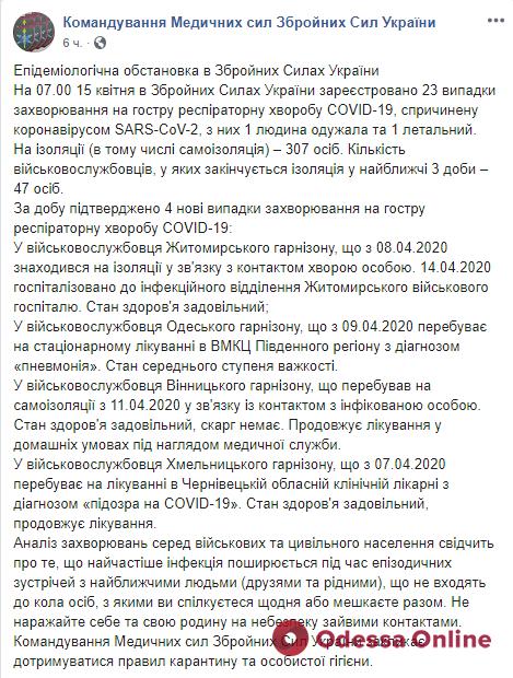 У военнослужащего Одесского гарнизона диагностировали коронавирус