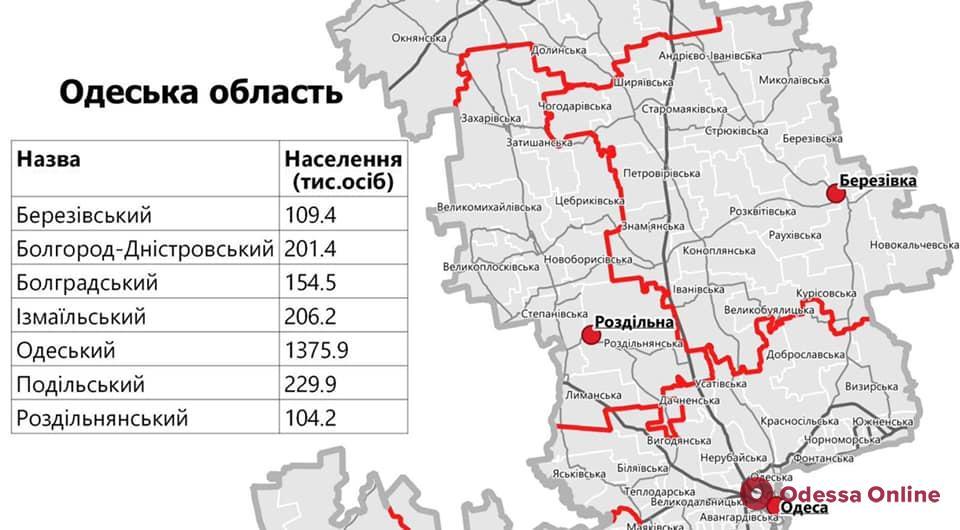 Одесскую область «раскроили» на семь районов