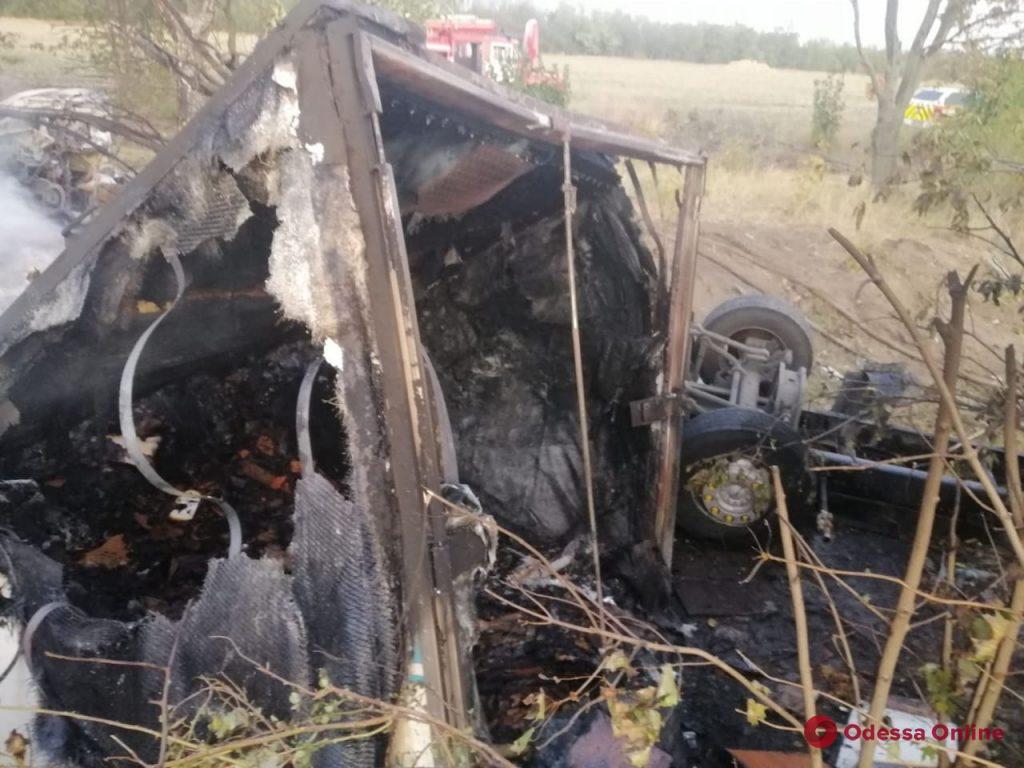 В Одесской области после ДТП съехал в кювет и загорелся грузовик (обновлено)