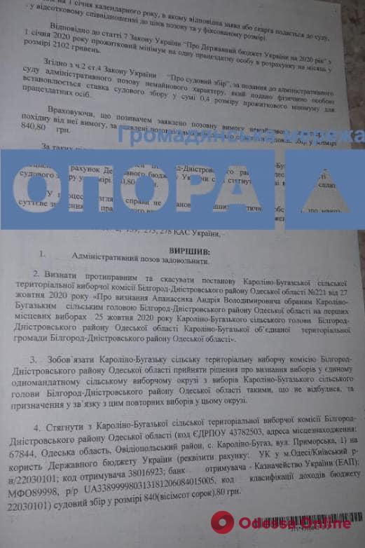 Одесский суд признал незаконными результаты выборов главы Каролино-Бугазского поссовета