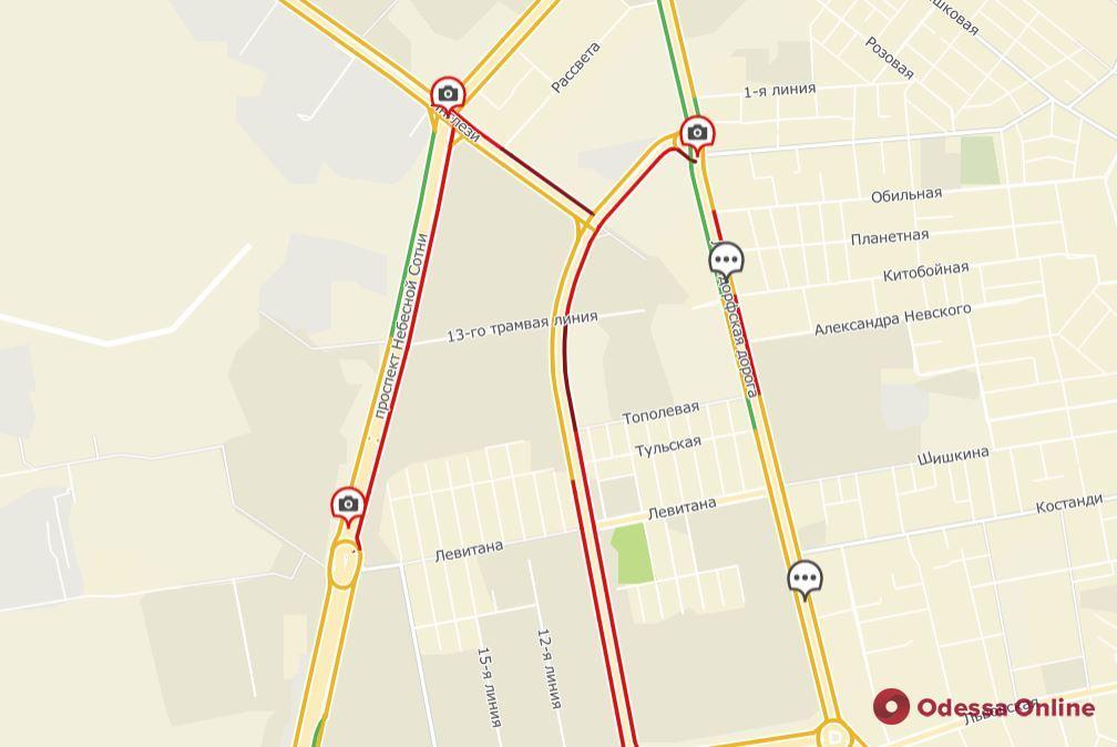 Дорожная обстановка в Одессе: пробки на Слободке, Таирова и Фонтане, а в центре днем перекроют улицы