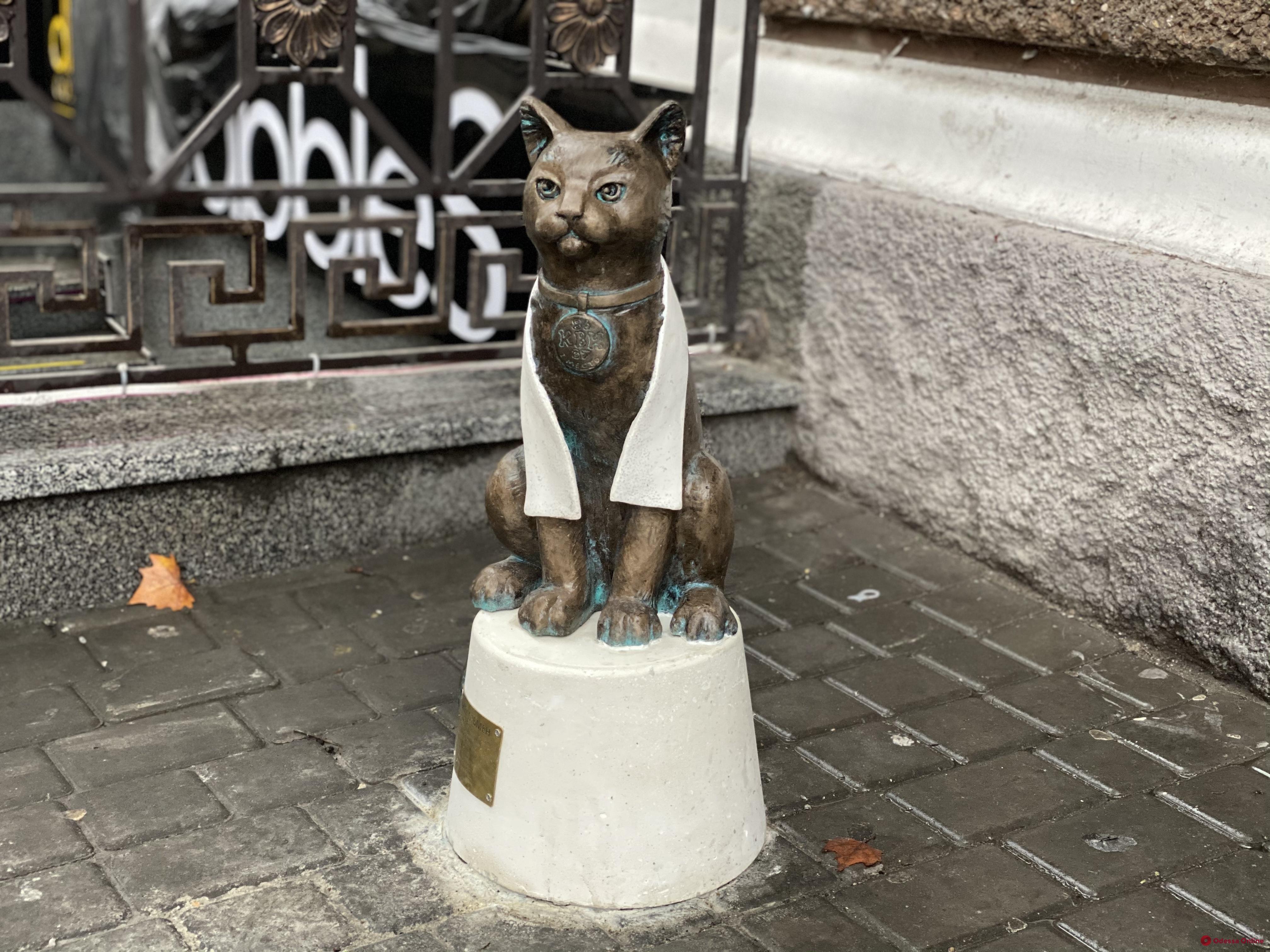 На Екатерининской установили скульптуру кота-джентльмена (фото)