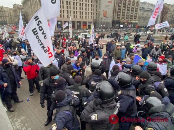 В Киеве во время массовой акции протеста предпринимателей пострадали 40 полицейских