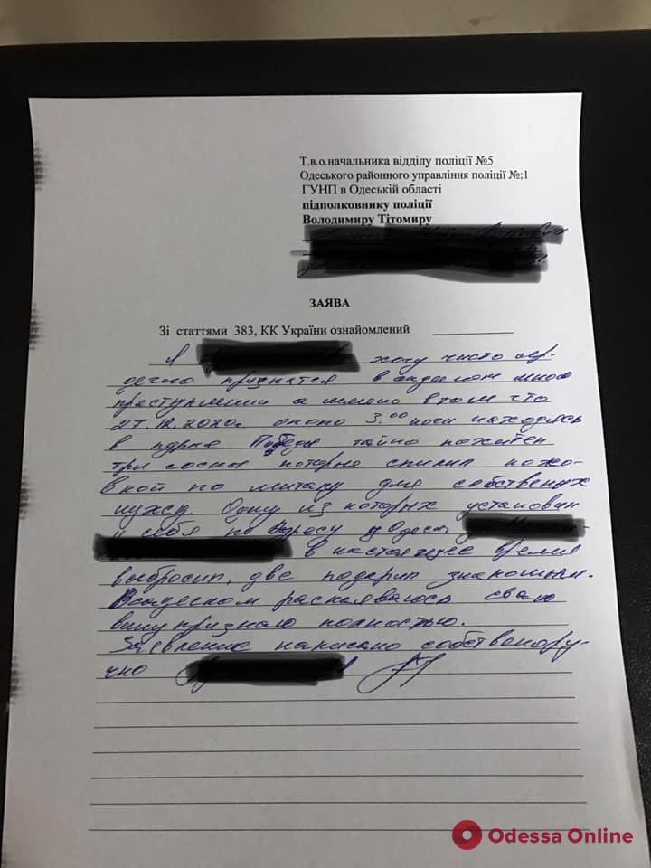 В Одессе поймали вандала, спилившего сосны в парке Победы