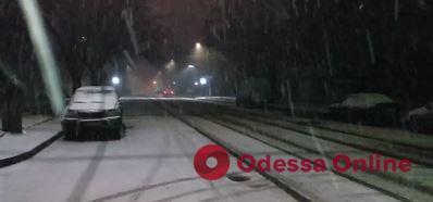 На Одессу обрушился снегопад (видео)