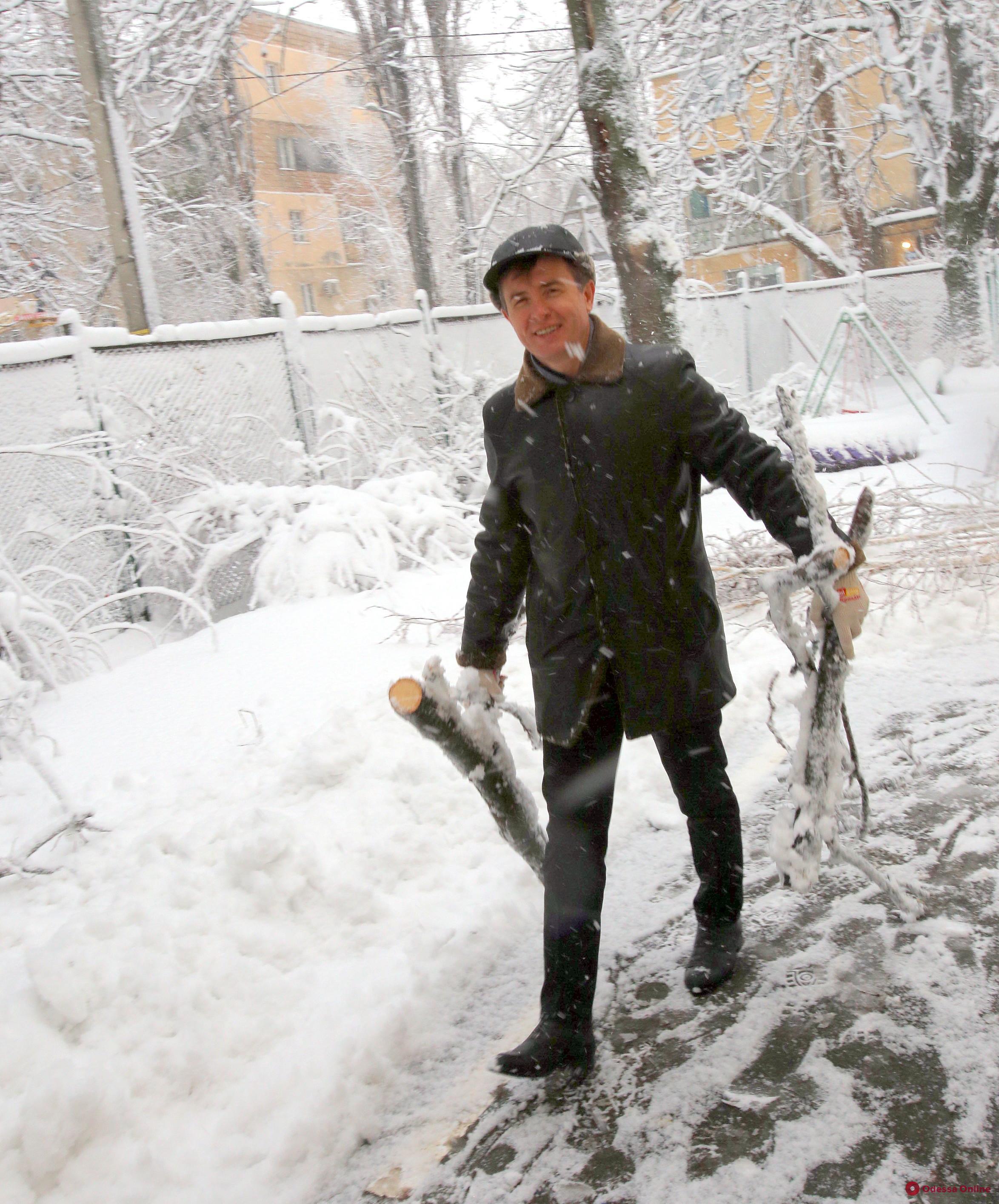 Лишние руки не помешают: одесские депутаты помогают расчищать снег