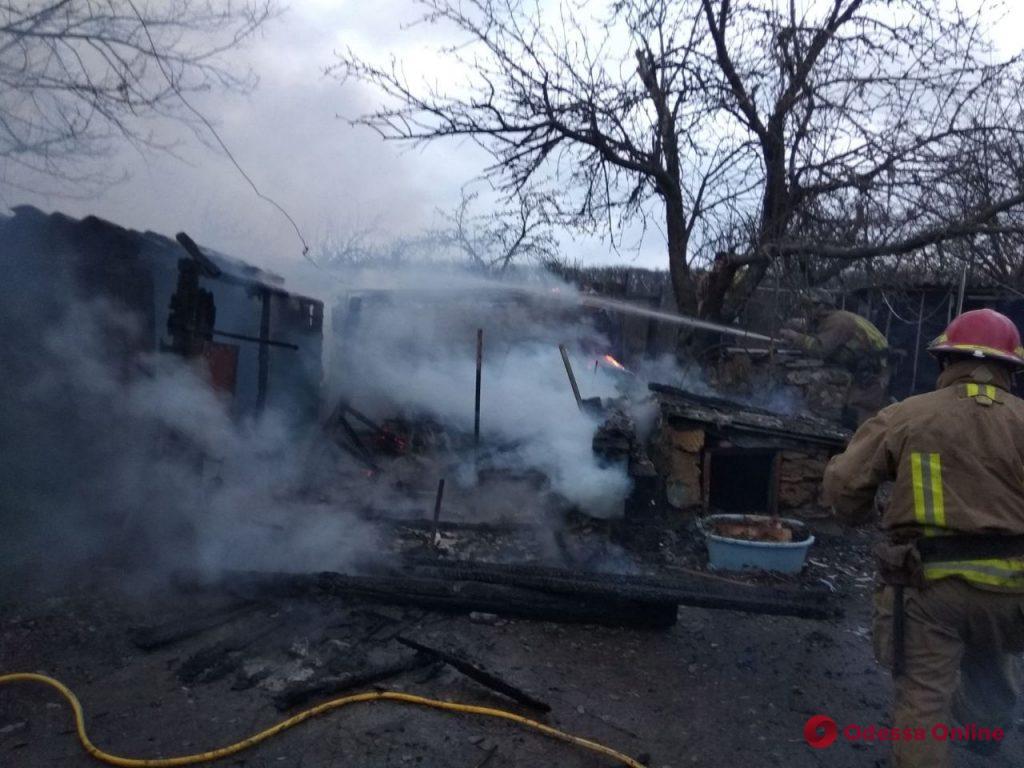 Под Одессой тушили пожар на частном подворье (фото)