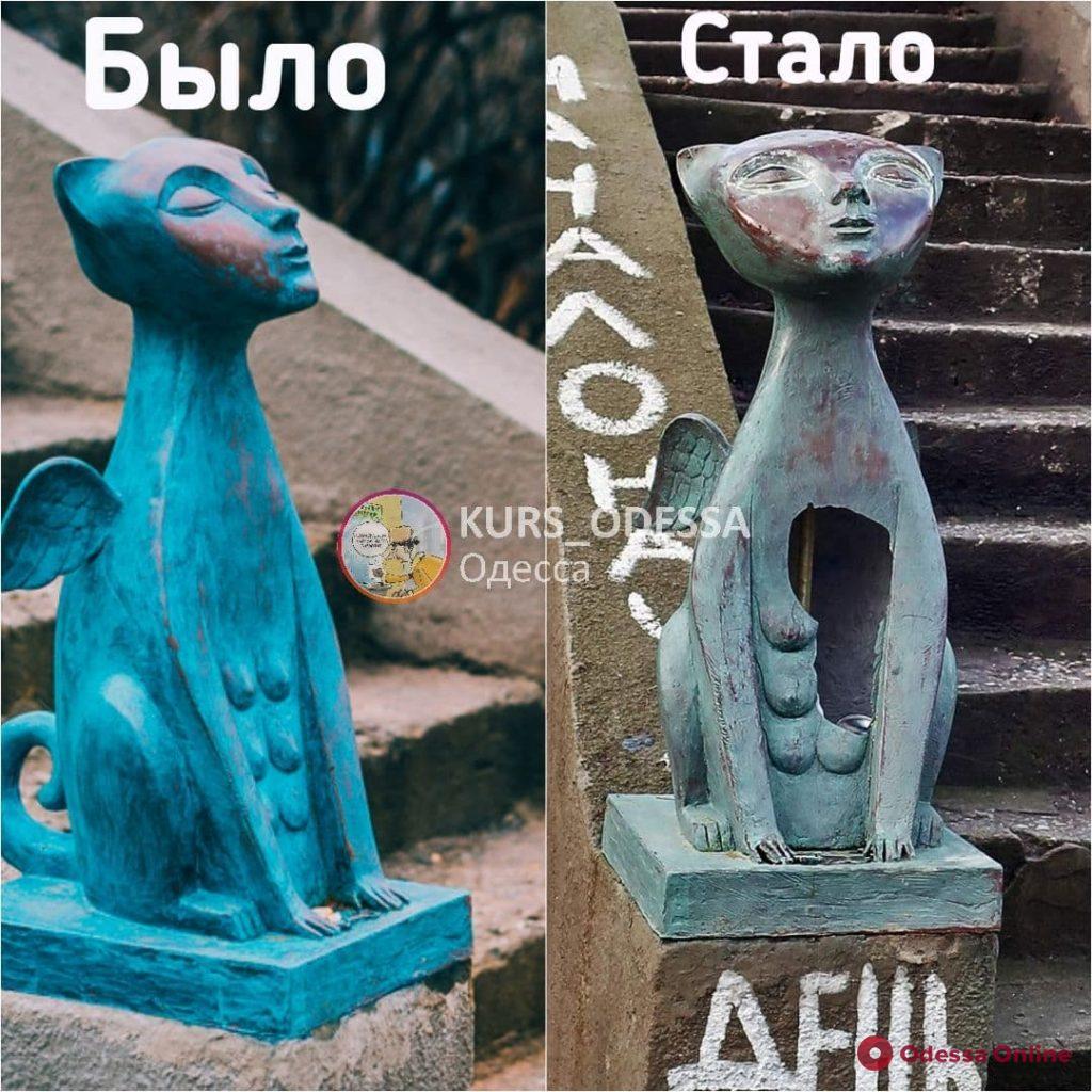 «Поколение Instagram» и кошка-сфинкс: в Одессе вандалы повредили две скульптуры