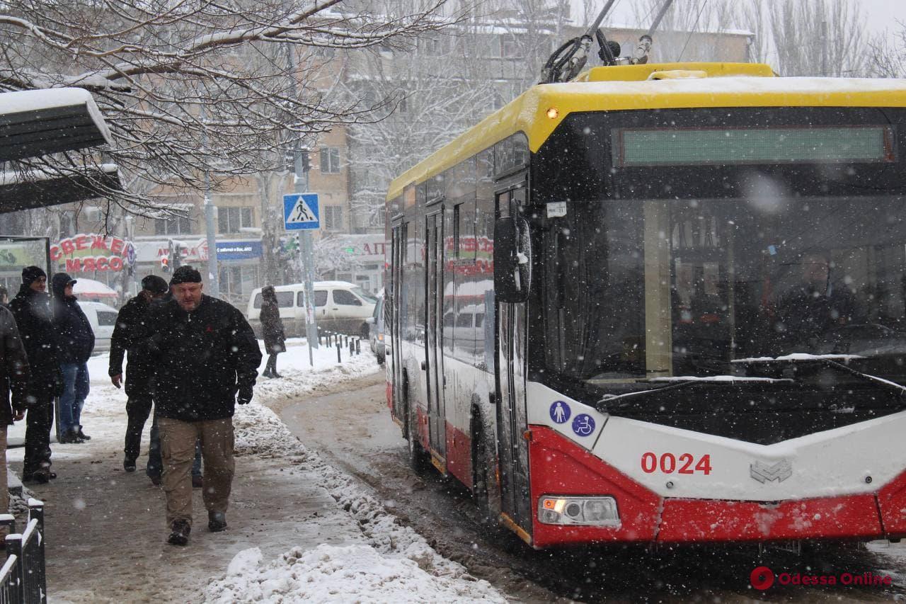 Непогода в Одессе: общественный транспорт курсирует без перебоев (фото)