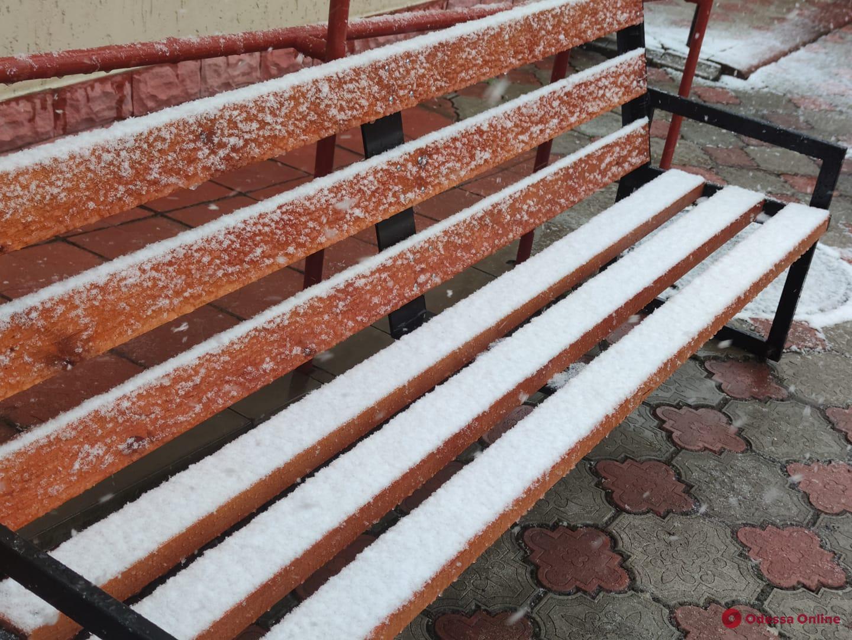 На севере Одесской области в апреле выпал снег (фотофакт)