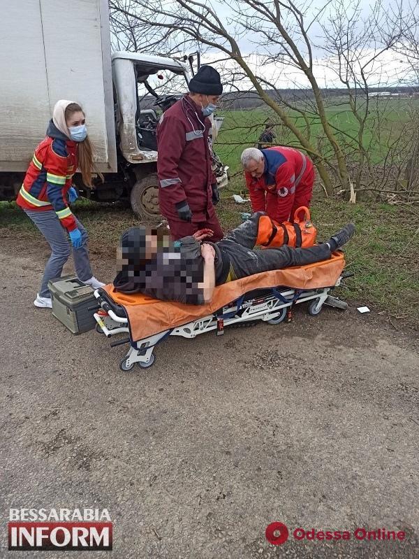 В Одесской области грузовик слетел с дороги и врезался в дерево – водителя зажало в салоне
