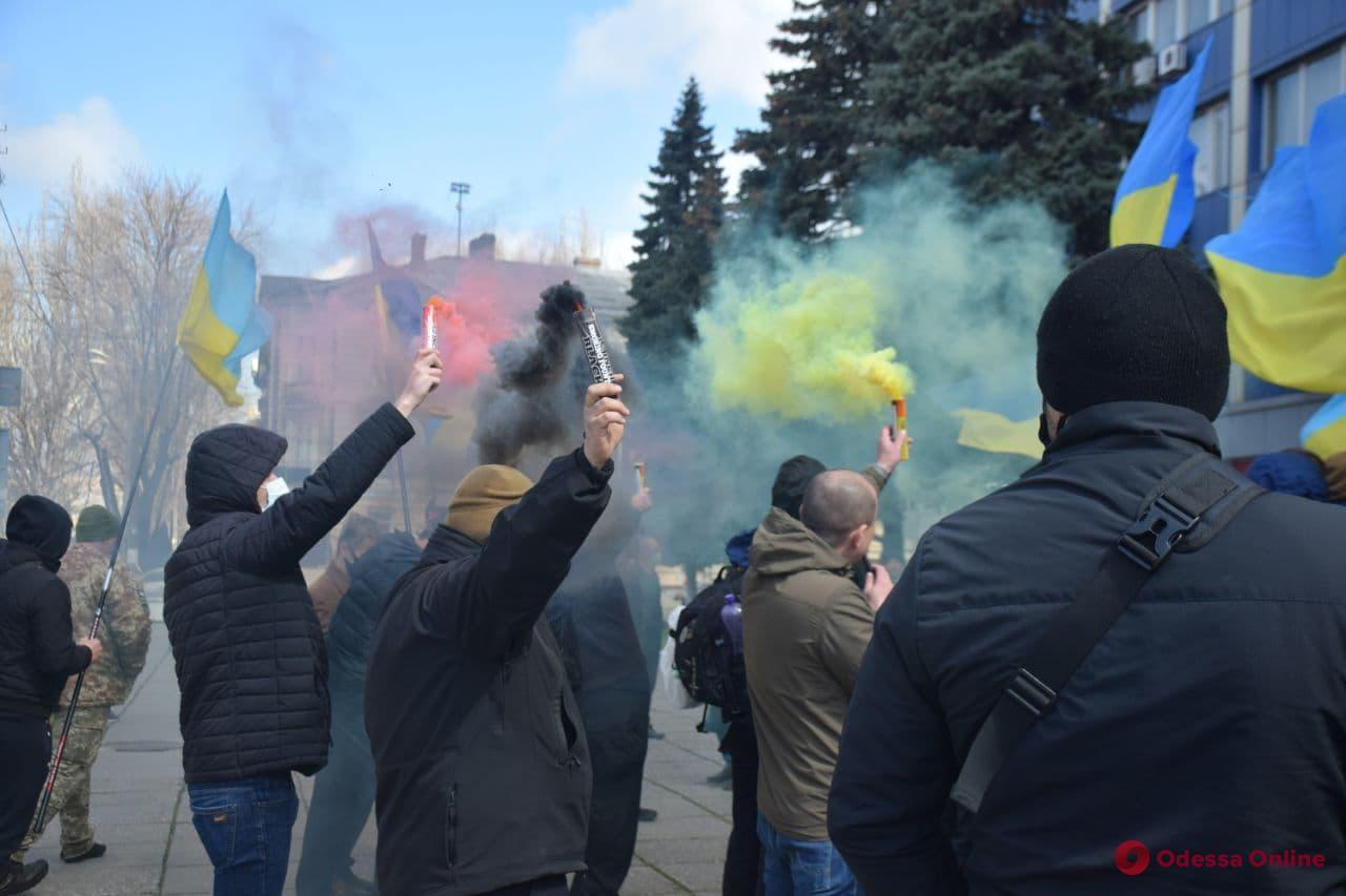 В Одессе митинговали против установки мемориального знака у Дома Профсоюзов (фото, видео)