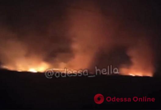 На Объездной дороге на большой площади горит камыш (видео)